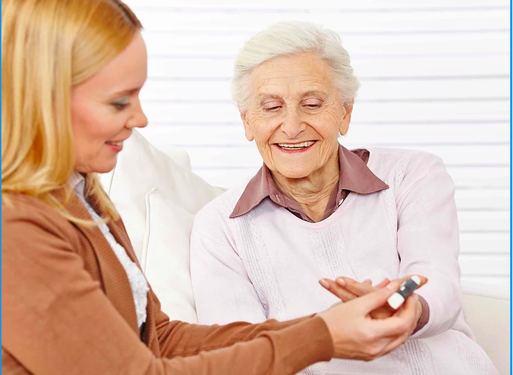 Caregiver & elderly lady